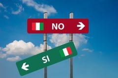 Italienisches Referendum ja u. x28; SI& x29; oder kein u. x28; NO& x29; Lizenzfreie Stockbilder
