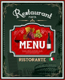 Italienisches Restaurantmenü der Weinlese und Plakatdesign Stockbild