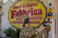 Italiensk annonsering för tyg Limoncello Arkivfoto