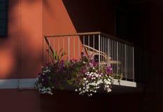 Italiensk balkong i Lido Di Esolo Fotografering för Bildbyråer