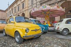 Italiensk bil Fiat 500 Abarth för tappning Fotografering för Bildbyråer