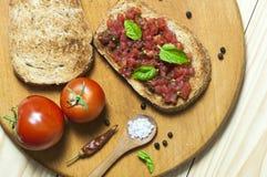 Italiensk bruschetta, sikt från över Royaltyfria Bilder