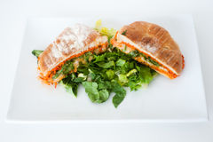 Italiensk ciabattapaninismörgås med ost och tomaten royaltyfria bilder