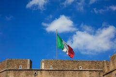 Italiensk flagga överst av Sant Angelo castel - Rome, Italien Royaltyfria Foton