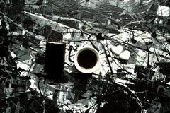 Italiensk frukost med kaffe- och chokladkakan Fotografering för Bildbyråer