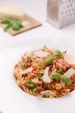 Italiensk fusillipasta med chee för tomatsås, basilika- och parmesan Royaltyfri Foto