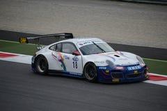 Italiensk GT-mästerskap Porsche 997 GT3 på Monza Arkivbild