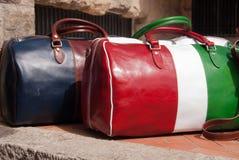 Italiensk handväskahemslöjd i läder Arkivfoto