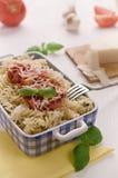 Italiensk hemlagad pasta med che för tomatsås, basilika- och parmesan Arkivfoto