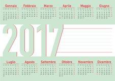 Italiensk horisontalspråkkalender 2017 Royaltyfria Foton