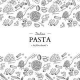 Italiensk illustration för tappning för pastarestaurangvektor Hand dragit inristat baner stock illustrationer