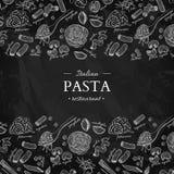 Italiensk illustration för tappning för pastarestaurangvektor Hand dragit svart tavlabaner Utmärkt för meny, royaltyfri illustrationer