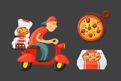 Italiensk illustration för vektor för pojke för kockpizzaleverans stock illustrationer