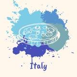 Italiensk känslobetonad bevekelsegrund med kulinariska dragningar stock illustrationer
