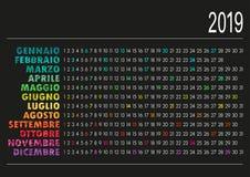 Italiensk kalender 2019 Arkivbild