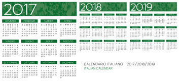 Italiensk kalender 2017-2018-2019 stock illustrationer