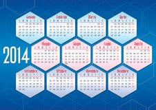 Italiensk kalender 2014 med geometriska former Royaltyfria Bilder