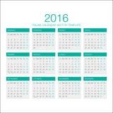 Italiensk kalendervektor 2016 Royaltyfri Fotografi