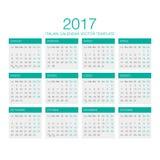 Italiensk kalendervektor 2017 Arkivfoto