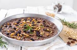 Italiensk kastanjebrun kaka, castagnaccio Arkivbild