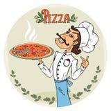 Italiensk kock med en kokhet pizza royaltyfri illustrationer