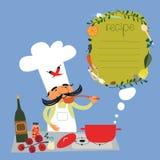 Italiensk kockillustration-recept design Arkivfoto