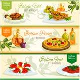 Italiensk kokkonst besegrar baneruppsättningen för matdesign royaltyfri illustrationer