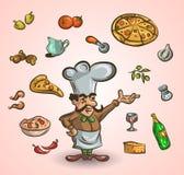 Italiensk kokkonst och mat hand-dragen illustration med en stilig kock vektor illustrationer