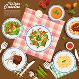 Italiensk kokkonst på tabellen vektor illustrationer