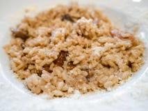 Italiensk kokkonst - risotto med porcinichampinjoner fotografering för bildbyråer