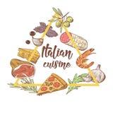 Italiensk kokkonst skissar klotter Mall för matmenydesign stock illustrationer