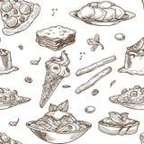Italiensk kokkonst skissar modellbakgrund Sömlös design för vektor av traditionell Italien matdisk stock illustrationer