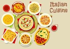 Italiensk kokkonstsymbol med pasta och lasagner stock illustrationer