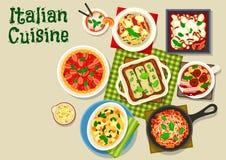 Italiensk kokkonstsymbol med pasta och lasagner vektor illustrationer