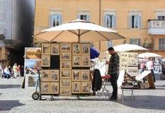 Italiensk konstförsäljare royaltyfria foton