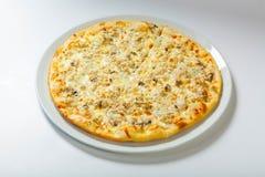 Italiensk läcker pizza med ost på en vit platta arkivbild