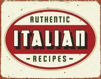 Italiensk laga mat tappning Tin Sign arkivbild