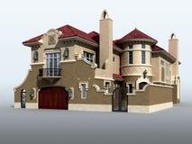 italiensk lyxig model villa 3d Royaltyfri Bild