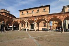 Italiensk marknadsfyrkant i bolognaen Fotografering för Bildbyråer