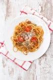 Italiensk mat - bolognese spagetti, bästa sikt Royaltyfri Bild