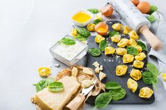 Italiensk mat och ingredienser, handgjord tortellini med spenat och ricotta Arkivfoto