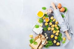 Italiensk mat och ingredienser, handgjord tortellini med spenat och ricotta Royaltyfria Foton