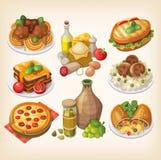 Italiensk mat och mål royaltyfri illustrationer