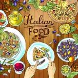 Italiensk mat på den wood textuen vektor illustrationer