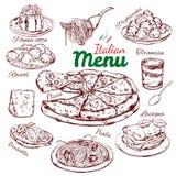 Italiensk mat skissar samlingen stock illustrationer