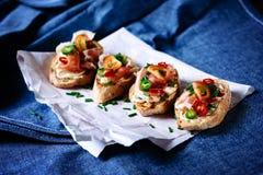 Italiensk matbruschetta Fotografering för Bildbyråer