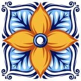Italiensk modell för keramisk tegelplatta Etnisk folkprydnad royaltyfri illustrationer