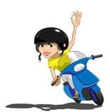 italiensk nätt sparkcykel för flicka Arkivbilder