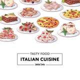 Italiensk nationell kokkonst besegrar affischen stock illustrationer