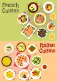 Italiensk och fransk kokkonst besegrar fastställd design för symbol royaltyfri illustrationer